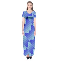 Gradient Blue Pinstripes Lines Short Sleeve Maxi Dress