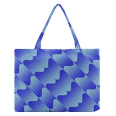 Gradient Blue Pinstripes Lines Zipper Medium Tote Bag
