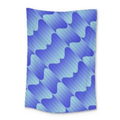 Gradient Blue Pinstripes Lines Small Tapestry