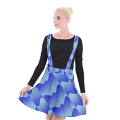 Gradient Blue Pinstripes Lines Suspender Skater Skirt