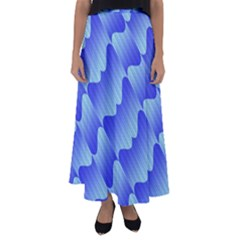Gradient Blue Pinstripes Lines Flared Maxi Skirt