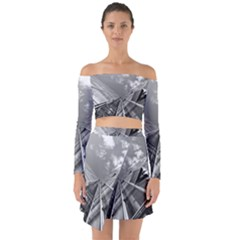 Architecture Skyscraper Off Shoulder Top With Skirt Set