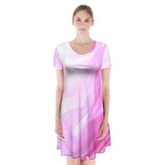 Material Ink Artistic Conception Short Sleeve V Neck Flare Dress