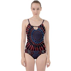 The Fourth Dimension Fractal Noise Cut Out Top Tankini Set
