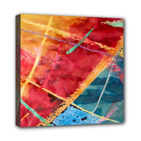 Painting Watercolor Wax Stains Red Mini Canvas 8  X 8