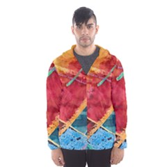 Painting Watercolor Wax Stains Red Hooded Wind Breaker (men)