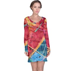 Painting Watercolor Wax Stains Red Long Sleeve Nightdress