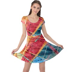Painting Watercolor Wax Stains Red Cap Sleeve Dress