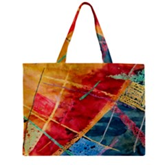 Painting Watercolor Wax Stains Red Zipper Mini Tote Bag