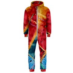 Painting Watercolor Wax Stains Red Hooded Jumpsuit (men)