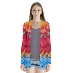 Painting Watercolor Wax Stains Red Drape Collar Cardigan