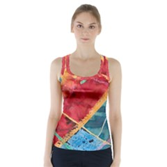 Painting Watercolor Wax Stains Red Racer Back Sports Top