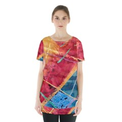 Painting Watercolor Wax Stains Red Skirt Hem Sports Top