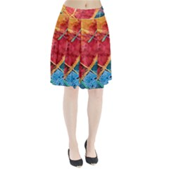 Painting Watercolor Wax Stains Red Pleated Skirt