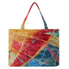 Painting Watercolor Wax Stains Red Zipper Medium Tote Bag
