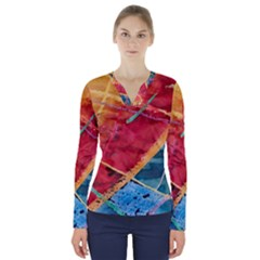 Painting Watercolor Wax Stains Red V Neck Long Sleeve Top