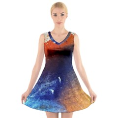 Colorful Pattern Color Course V Neck Sleeveless Skater Dress