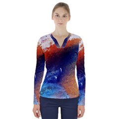 Colorful Pattern Color Course V Neck Long Sleeve Top