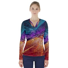 Graphics Imagination The Background V Neck Long Sleeve Top