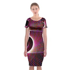Grid Bent Vibration Ease Bend Classic Short Sleeve Midi Dress
