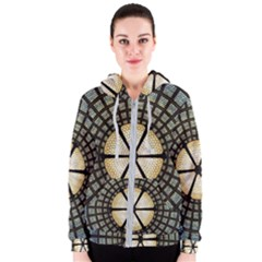 Stained Glass Colorful Glass Women s Zipper Hoodie