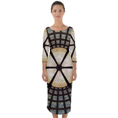 Stained Glass Colorful Glass Quarter Sleeve Midi Bodycon Dress