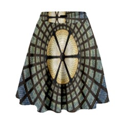 Stained Glass Colorful Glass High Waist Skirt