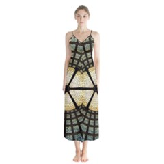 Stained Glass Colorful Glass Button Up Chiffon Maxi Dress
