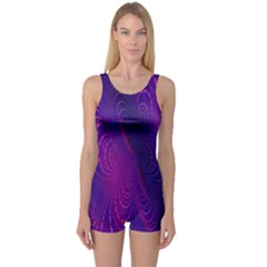 Abstract Fantastic Fractal Gradient One Piece Boyleg Swimsuit