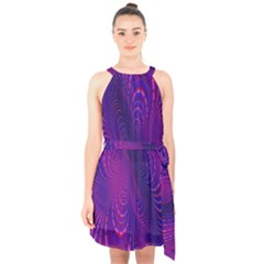 Abstract Fantastic Fractal Gradient Halter Collar Waist Tie Chiffon Dress