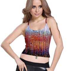 Glass Colorful Abstract Background Spaghetti Strap Bra Top