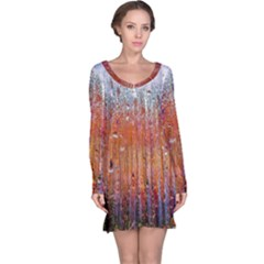 Glass Colorful Abstract Background Long Sleeve Nightdress
