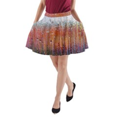 Glass Colorful Abstract Background A Line Pocket Skirt