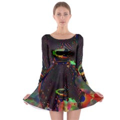 The Fourth Dimension Fractal Long Sleeve Skater Dress