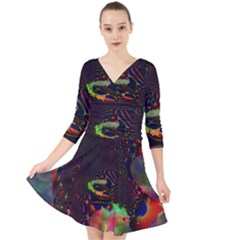 The Fourth Dimension Fractal Quarter Sleeve Front Wrap Dress
