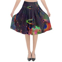 The Fourth Dimension Fractal Flared Midi Skirt