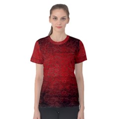 Red Grunge Texture Black Gradient Women s Cotton Tee