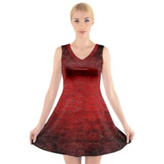 Red Grunge Texture Black Gradient V Neck Sleeveless Skater Dress
