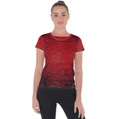 Red Grunge Texture Black Gradient Short Sleeve Sports Top