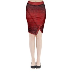 Red Grunge Texture Black Gradient Midi Wrap Pencil Skirt