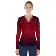 Red Grunge Texture Black Gradient V Neck Long Sleeve Top