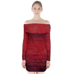 Red Grunge Texture Black Gradient Long Sleeve Off Shoulder Dress