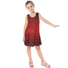 Red Grunge Texture Black Gradient Kids  Sleeveless Dress
