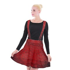 Red Grunge Texture Black Gradient Suspender Skater Skirt
