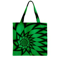 The Fourth Dimension Fractal Zipper Grocery Tote Bag by BangZart