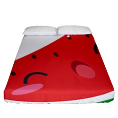 Watermelon Red Network Fruit Juicy Fitted Sheet (queen Size)