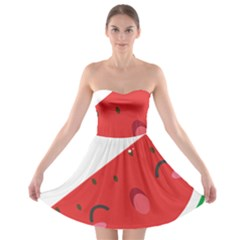 Watermelon Red Network Fruit Juicy Strapless Bra Top Dress