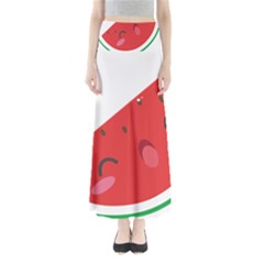 Watermelon Red Network Fruit Juicy Full Length Maxi Skirt