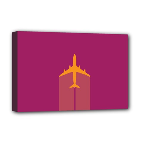 Airplane Jet Yellow Flying Wings Deluxe Canvas 18  X 12