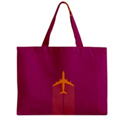 Airplane Jet Yellow Flying Wings Zipper Mini Tote Bag